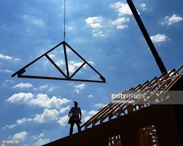 house under construction. - oppakken stockfoto's en -beelden