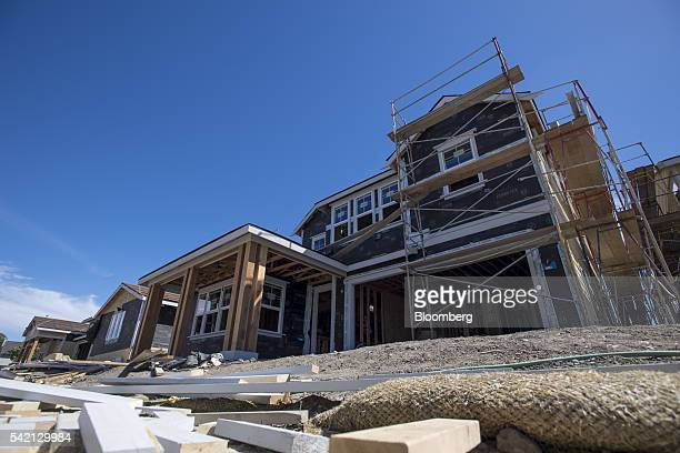 A house under construction stands at the KB Home Magnolia at Patterson Ranch community in Fremont California US on Monday June 20 2016 The US Census...