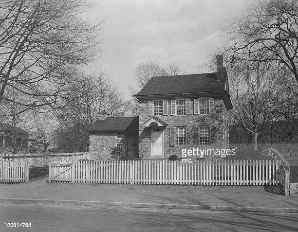 A house used as a headquarters by General George Washington during the American Revolution in the village of Valley Forge Pennsylvania photo circa...