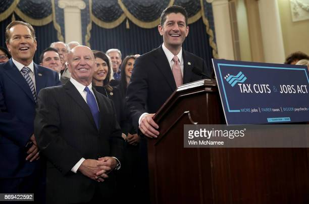 House Way and Means Chairman Kevin Brady and Speaker of the House Paul Ryan joined by members of the House Republican leadership introduce tax reform...