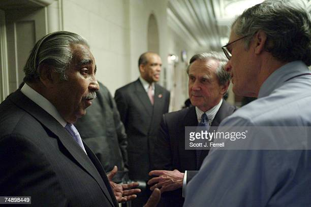 House Ways and Means Chairman Charles B Rangel DNY talks with James D Robinson III second from right of RRE Ventures and former CEO of American...