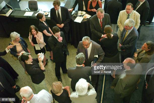 House Ways and Means Chairman Charles B Rangel DNY with handkerchief in breast pocket works the crowd at the National Center for Law and Economic...