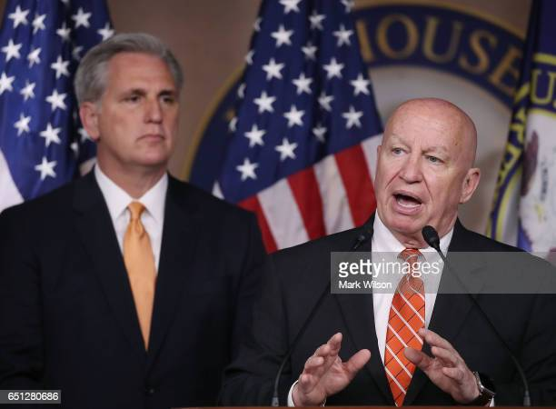 House Ways and Means Chairman Kevin Brady is flanked by House Majority Leader Kevin McCarthy while speaking about the American Health Care Act bill...