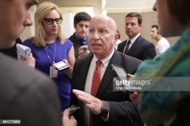 House Ways and Means Committee Chairman Kevin Brady is surrounded by reporters following a meeting wit Speaker of the House Paul Ryan and White House...