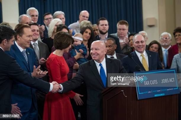 House Ways and Means Committee Chairman Kevin Brady RTexas center Speaker Paul Ryan RWis left GOP leadership and members of the committee conduct a...