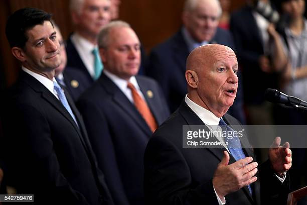 House Ways and Means Committee Chairman Kevin Brady Speaker of the House Paul Ryan and House Majority Whip Steve Scalise address a news conference to...