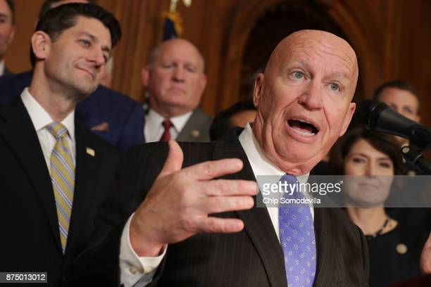 House Ways and Means Committee Chairman Kevin Brady speaks during a news conference with Speaker of the House Paul Ryan and fellow House Republicans...