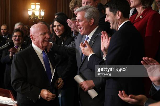 House Ways and Means Committee Chairman Rep. Kevin Brady is greeted by applause from Rep. Kristi Noem , House Majority Leader Rep. Kevin McCarthy ,...