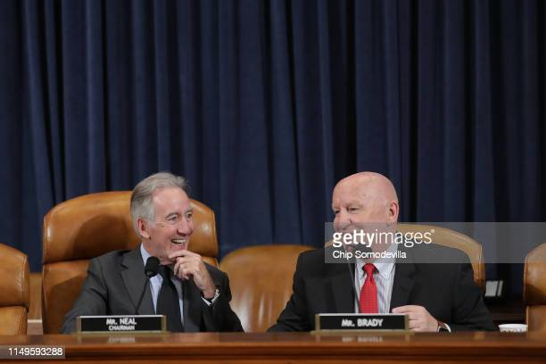 House Ways and Means Committee Chairman Richard Neal and ranking member Rep Kevin Brady talk before a hearing on maternal mortality in the Longworth...