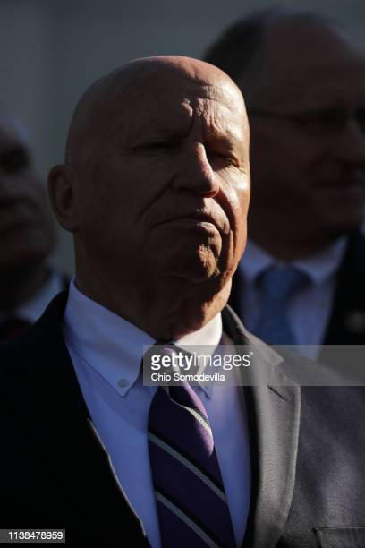 House Ways and Means Committee ranking member Rep Kevin Brady joins fellow Republican members of the House while talking to reporters outside the...