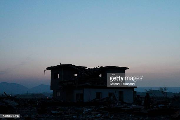 A house which was destroyed by the earthquake and tsunami that hit northeastern Japan on March 11 2011