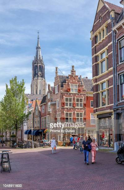House with 2 stepped gable fronts and the tower of the New Church Delft ZuidHolland Netherlands