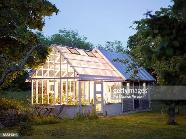 a house with a greenhouse sweden. - gewächshäuser stock-fotos und bilder