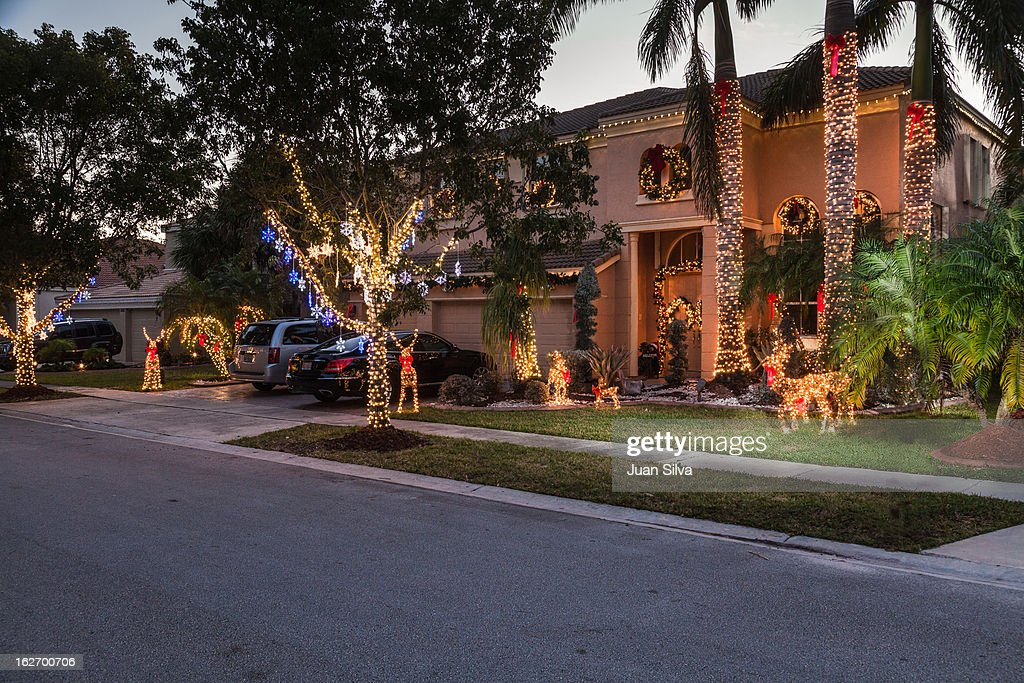 House with Christmas Decocarions : Stock Photo