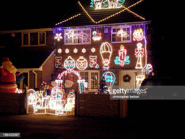 House with Christmas lights.