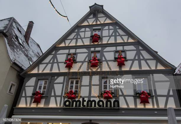 House with christmas presents and Santa Claus Christmas Market in the Northern Bavarian town of Forchheim It snowed heavily but a lot of people...