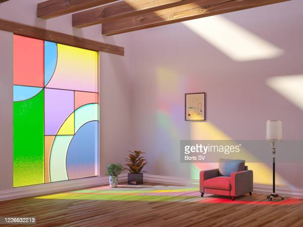 house with large stained glass window - art deco furniture stock pictures, royalty-free photos & images