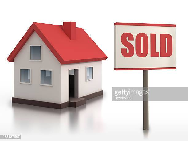 House with Sold sign - isolated w. clipping path