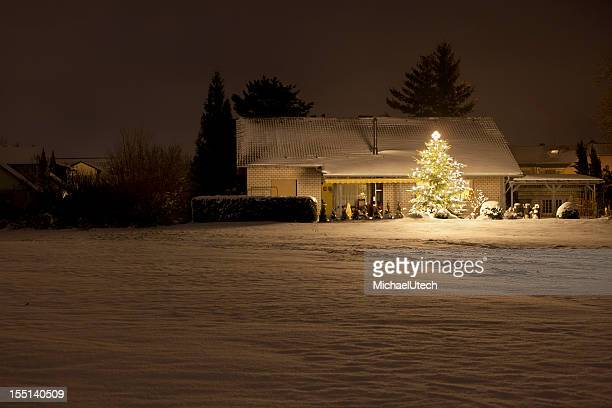 House With Tall Christmas Tree At Night
