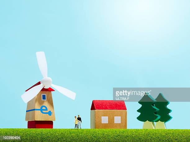 A house with the wind-power generator