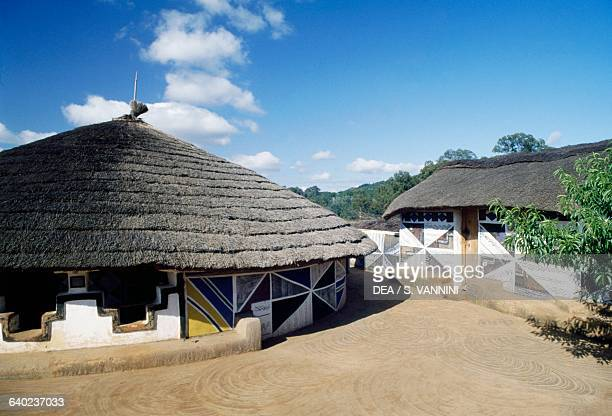 House with traditional decorated walls in a Ndebele village South Africa