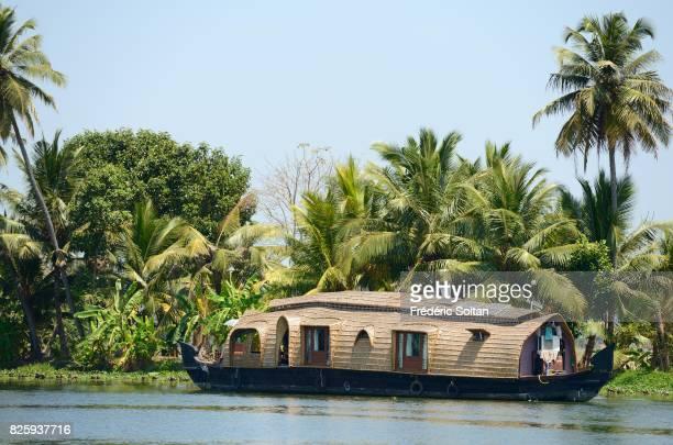 Houseboat along the Backwaters near Alappuzha Kerala on January 18 2017 in India