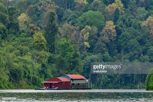 houseboat at temengor lake - shaifulzamri bildbanksfoton och bilder
