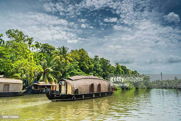houseboat cruise in kumarakom - houseboat stock pictures, royalty-free photos & images