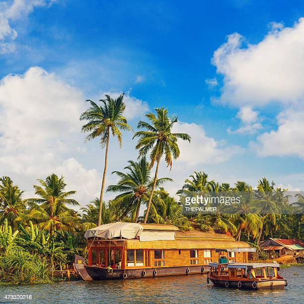 houseboat in kerala - houseboat stock pictures, royalty-free photos & images