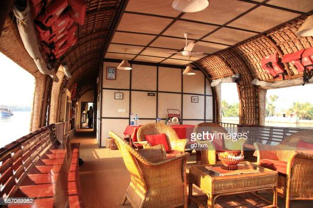 houseboat interior and kerala backwaters,alleppey, kerala, india - houseboat stock pictures, royalty-free photos & images