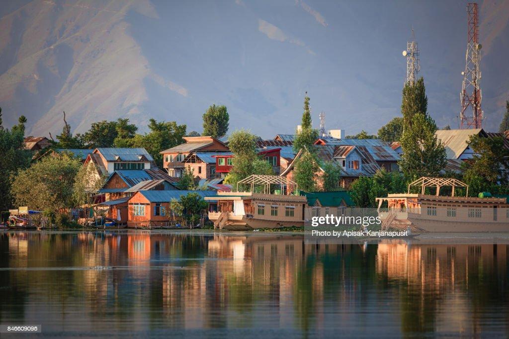Houseboat on Nageen Lake in Srinagar, Kashmir, India : Stock Photo