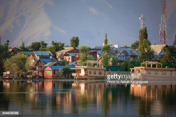 houseboat on nageen lake in srinagar, kashmir, india - kashmir stock photos and pictures