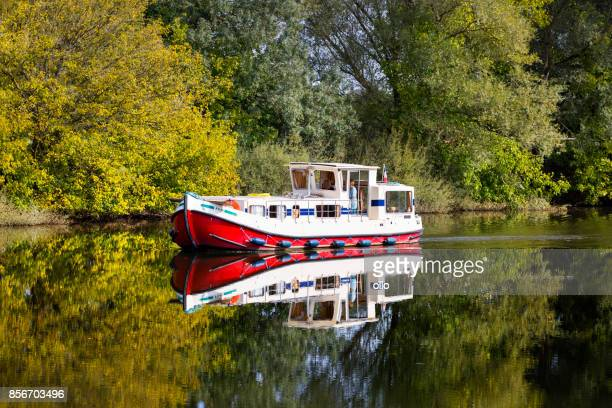 houseboat on river seille - houseboat stock pictures, royalty-free photos & images
