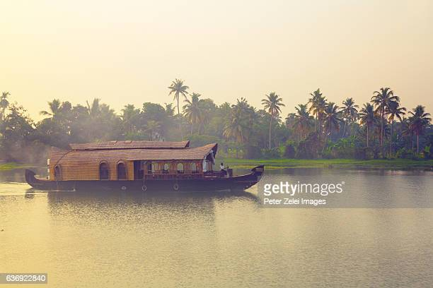 houseboat on the backwaters of kerala, india - houseboat stock pictures, royalty-free photos & images