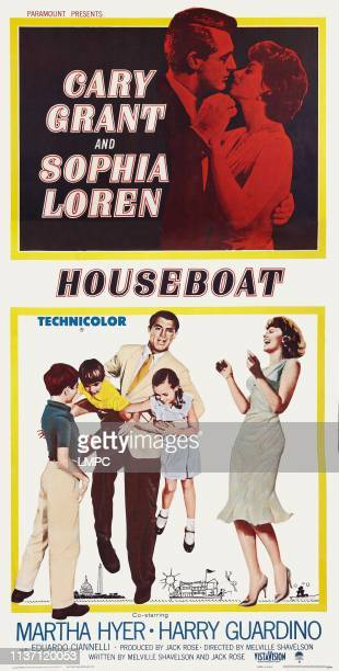 Houseboat poster US poster art top left to right Cary Grant Sophia Loren bottom left to right Paul Petersen Charles Herbert Cary Grant Mimi Gibson...