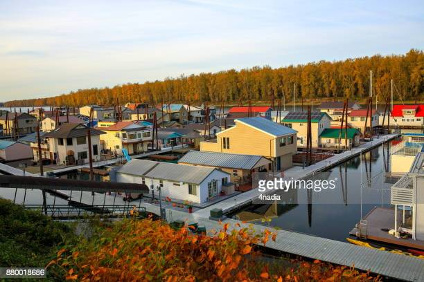 Houseboats along the waterfront in Portland, Oregon