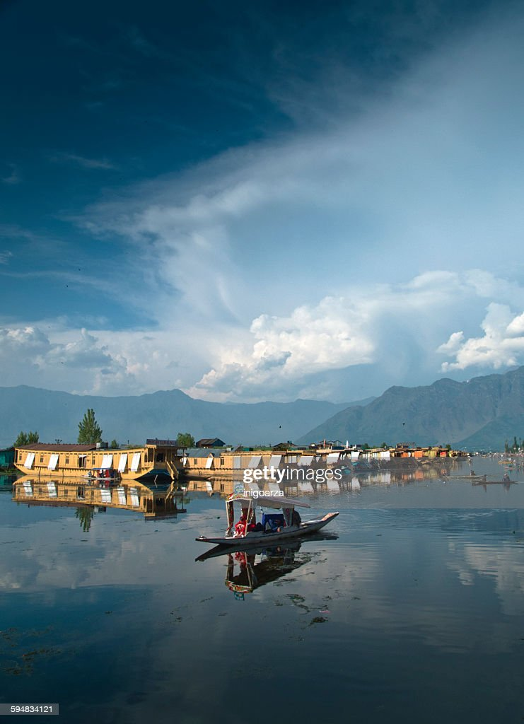 Houseboats and taxi boats on Dal Lake, Kashmir, India : Stock Photo