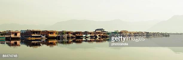 Houseboats in a lake, Dal Lake, Srinagar, Jammu and Kashmir, India