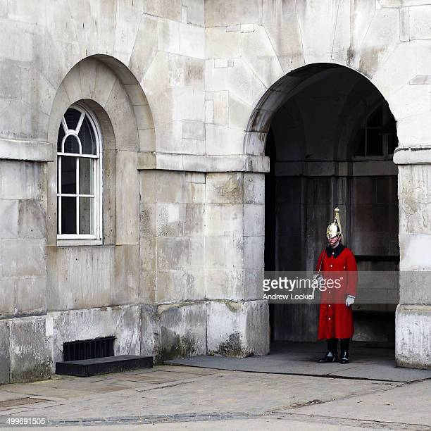 CONTENT] Household Cavalry Guard on sentry duty at the entrance to the Household Cavalry Museum on January 24 on Horse Guards Parade in London England