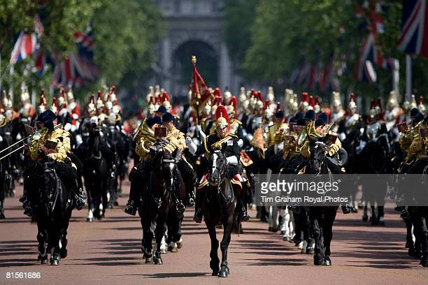 Household Cavalry of the Blues and Royals ride in procession along The Mall at Trooping The Colour on June 14 2008 in London England The Trooping The...
