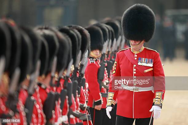 Household Cavalry on Horseguards Parade ahead of the Official Ceremonial Welcome for the Chinese State Visit on October 20 2015 in London England The...