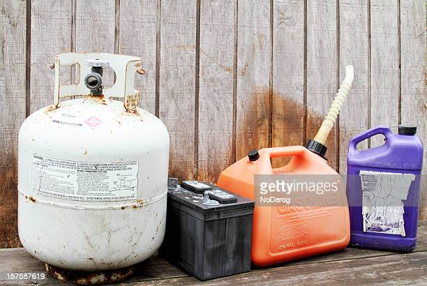 household hazardous waste products and containers - storage tank stock photos and pictures