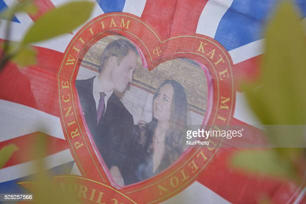 A household in Stockportm celebrating the birth of the new royal baby on Saturday 2nd May 2015 with a commemorative Union Jack of the wedding between...