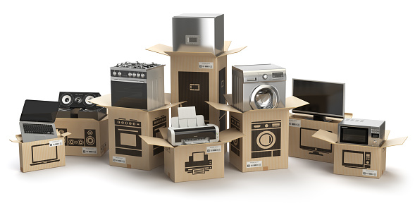 Household kitchen appliances and home electronics in boxes isolated on white. E-commerce, internet online shopping and delivery concept. 861599616