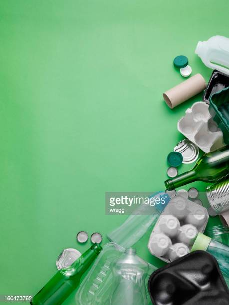 household rubbish for recycling - recycling stock pictures, royalty-free photos & images