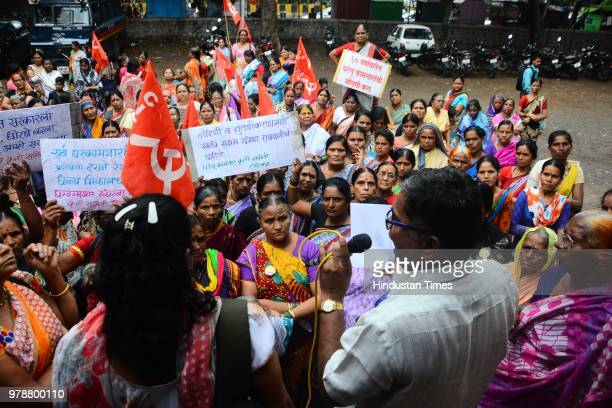 Household workers protest at labour Commissioner office demanding pension and salary hike inPune India on Monday June 18 2018
