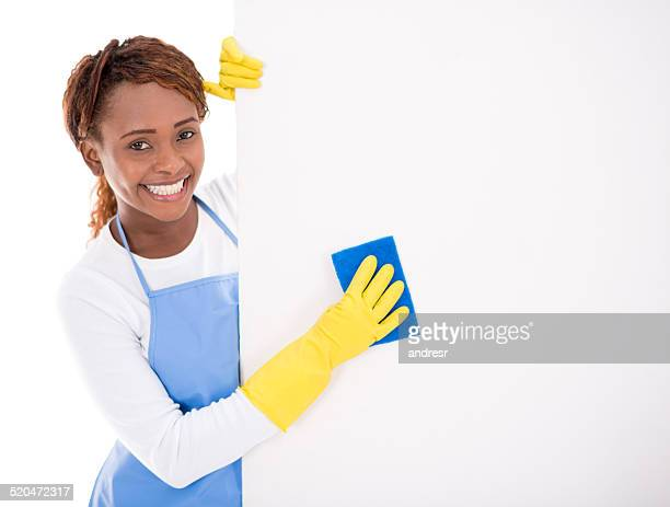 Housekeeper with a banner