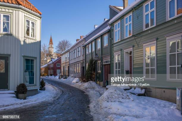 Houses Against Clear Sky During Winter