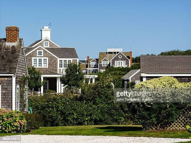 houses against clear sky - nantucket stock pictures, royalty-free photos & images