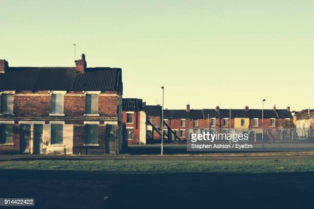 houses against clear sky - middlesbrough stock pictures, royalty-free photos & images